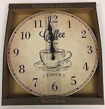 Vintage Style Kitchen Clock - Shabby Chic  Round Wall Clock  Fresh Brewed Coffee
