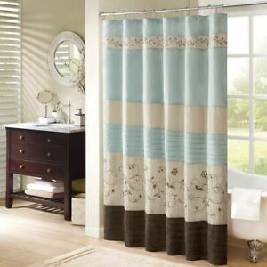 """Luxury Soft Blue & Brown Floral Embroidered Fabric Shower Curtain - 72"""" x 72"""""""