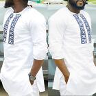 Hombre Dashiki Estampado Africano Camisa de manga larga Tribal succinct Hippy