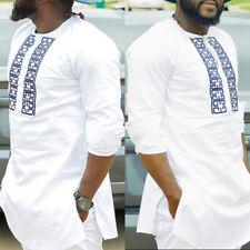 Men Dashiki Print African Long Sleeve Shirt Tribal Succinct Hippie Top Blouse