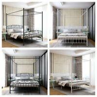 Metal Framed Canopy Four Poster Platform Bed With Strong Steel Mattress Support