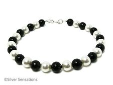 Elegant Jet Black & White Swarovski Pearls & Sterling Silver Handmade Bracelet