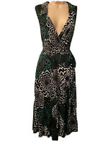 Monsoon Dress Size 16 Black Green White Floral Wedding Guest Stretch Flattering