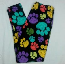 Printed Leggings Paw Print Dog Cat One Size Fits 4 - 12 S M L Buttery Soft