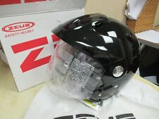 ZEUS 3/4 OPEN FACE MOTORCYCLE + ATV + SCOOTER HELMET / FACESHIELD BLACK SMALL