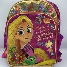 Disney Tangled Rapunzel Purple Kids Backpack Floral Glitter Back To School Bag