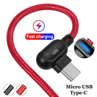 90° Angle Micro USB Type-C LED Lighting Cord Fast Charging Sync Data Cable New