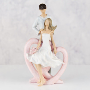 Romantic Couple With Flowers on Pink Entwined Heart Figurine Gift Ornament 24 cm