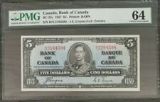 1937 $5 Dollar Bank of Canada Uncirculated Changeover HS Prefix PMG CUNC-64