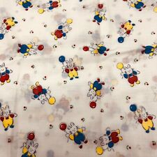 vintage adorable bunnies with balloons kids fabric rabbits drapery thin white
