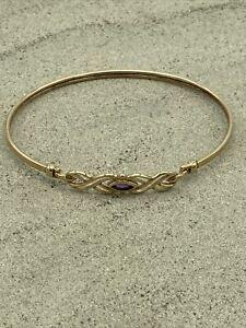 9ct gold hinged amethyst Edwardian style bangle Bracelet hallmarked