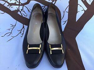 🔥 Salvatore Ferragamo Women Black Leather Gold Eccentric Low Heel Pumps Shoe 10