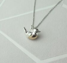 Solid 925 Sterling Silver Robin Pendant Necklace