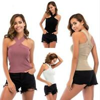 Women Summer Halter Sleeveless Tank Top Vest Blouse Off-Shoulder Crop Tops Shirt