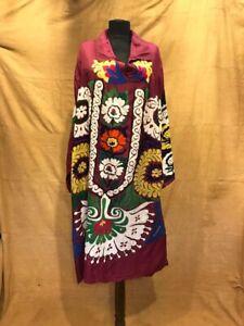uzbek suzani dress, handmade robe, suzani long tunic, women's garments