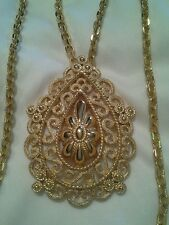 CROWN TRIFARI GOLD FILIGREE ETRUSCAN TEARDROP PENDANT MULTI CHAIN NECKLACE EXC!!