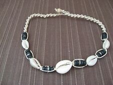 COFFEE BEAN TRIVIA SEASHELL & WOODEN BEAD W. HAMP CORD SPIRAL STYLE NECKLACE