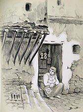 Benjamin Sarraillon Tunisie Bardo ruelle femme lithographie monogramme B. S.