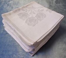 Antique Linen Damask 8 Lapkins Roses Twig & Thorn Center Wreath Hand Hemmed
