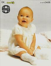 Sirdar 3436 Vintage Knitting Pattern Baby Dress & Socks birth - 3 months DK