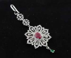 Cubic Zirconia Designer Ruby Emerald White Gold Plated Manga Tikka 14 RT 17