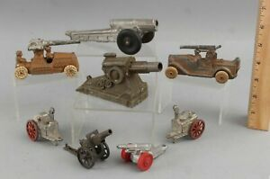 8 Antique WWII Manoil Barclay Lead Toy Artillery Cannons Howtizers & Mortars