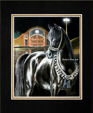 """Matted Arabian Mare Horse Art Print """"Midnight Jewel"""" 11""""x14"""" Mat by Roby Baer"""