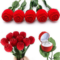 Romantic Red Rose Flower Velvet Jewelry Storage Box Engagement Ring Display Case
