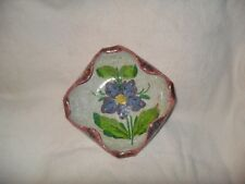"""Floral dish candy trinket bowl made in Italy 6"""" Art pottery numbered vintage"""