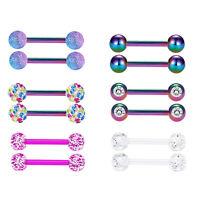 6Pairs 12G Surgical Steel Tongue Ring Nipplerings Rainbow Barbell Piercing Women