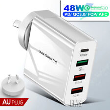 Qualcomm QC3.0 48W PD Fast Charging Charger Multi USB + Type C Wall Plug Adapter