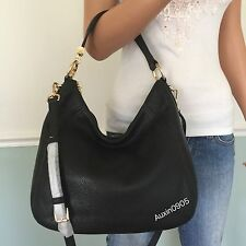 NEW! MICHAEL KORS Pebbled Leather Large Shoulder Crossbody Bag Hobo Purse Black