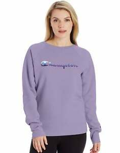 Champion Womens Sweatshirt Boyfriend Powerblend Crew Stripe Script Logo Relaxed