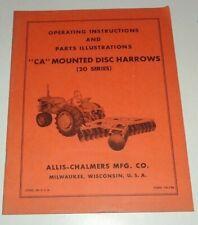Allis Chalmers Ca Mounted Disc Harrow Operators Ampparts Manual 20 Series Original