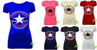 A56 NEW LADIES WOMEN'S CONVERSE LOGO PRINT PRINTED TSHIRT T-SHIRT TOP VEST SIZE