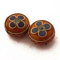 Turquoise Coral Lapis Resin Brass 2 Beads Tibetan Nepalese Handmade Nepal UB51