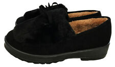 Womens Suede Shearling Moccasin Slippers House Shoes With Fur Slip On Black 7