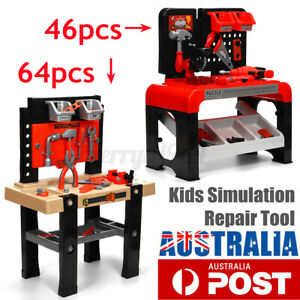 46/64Pcs Kids Tools Pretend Role Play Toy Work Bench Repair Kit Toolbox Gift
