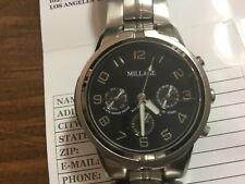 New 2007 mens millage watch stainless steel chronograph automatic 24 jewels box