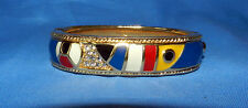 SWAROVSKI CRYSTAL Swan SIGNED Gold Tone ENAMEL Hinged BANGLE BRACELET Beautiful