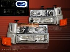 94-98 CHEVY  FULL SIZE C10 C/K SUBURBAN TAHOE ONE HALO HEADLIGHTS CHROME 10 PCS
