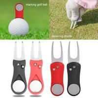 Portable Pitch Repair Divot Switchblade Tool Golf Ball Marker Groove Cleaner DY