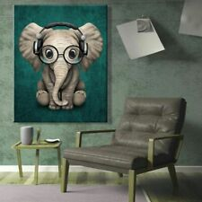 Wall Painting Elephant Realism Canvas Art Animal Bedroom Living Home Room Decors