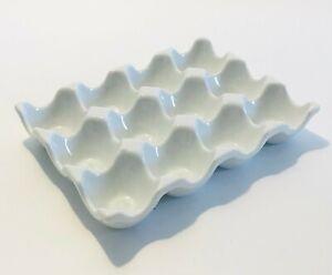 White Ceramic 12 Eggs Holder Tray Dozen Crate Storage Case Organiser Container