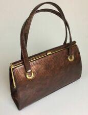 UK Vintage Holmes of Norwich Lined Brown Snakeskin Handbag 1950's / 1960's