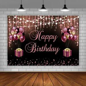 Happy Birthday Backdrop Black Pink Gold Glitter Balloons Party Background 5x3ft