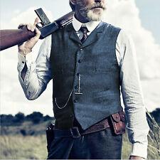 Retro Herren Weste Vintage Tweed Herringbone Tailored Notch Lapel Lässig Wolle++