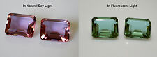 100% Color Change Lab created Pink Alexandrite Emerald Cut 11 x 9 mm