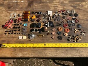 Collection of Used Vintage Art Deco Buttons Buckles - Enamel Bakelite etc