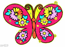 """New listing 3.5"""" Beautiful sequin flowered butterfly fabric applique iron on"""